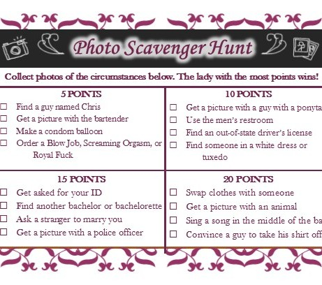 Bachelorette Party Scavenger Hunt To Size