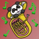 A cartoon drawing of a panda poking its head and paws out of a gold euphonium, which is not a tuba, decorated with pixelated music notes against a red gradient background
